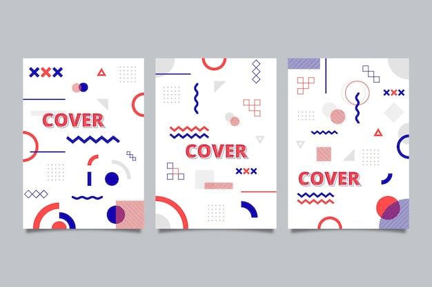 Collezione di copertine dal design colorato di memphis