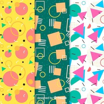 Memphis colorful pattern set