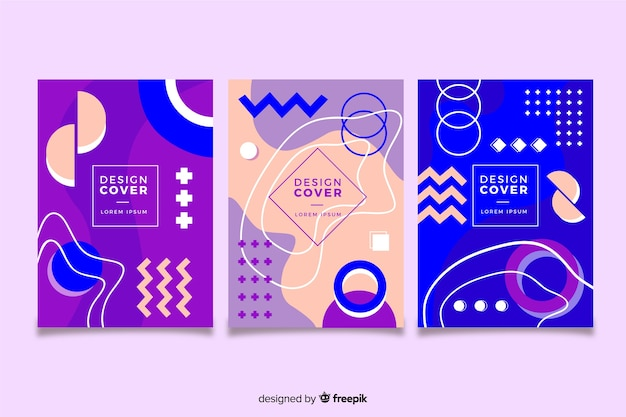 Memphis cover collection concept for template