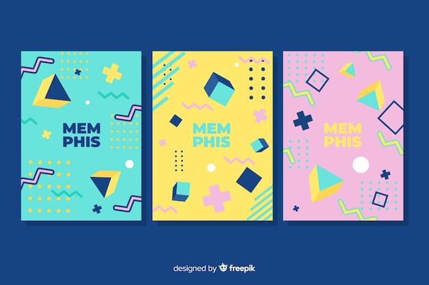Memphis cover collection with dark background