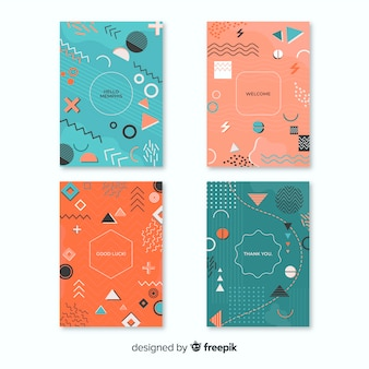 Memphis cover collection with geometric shapes