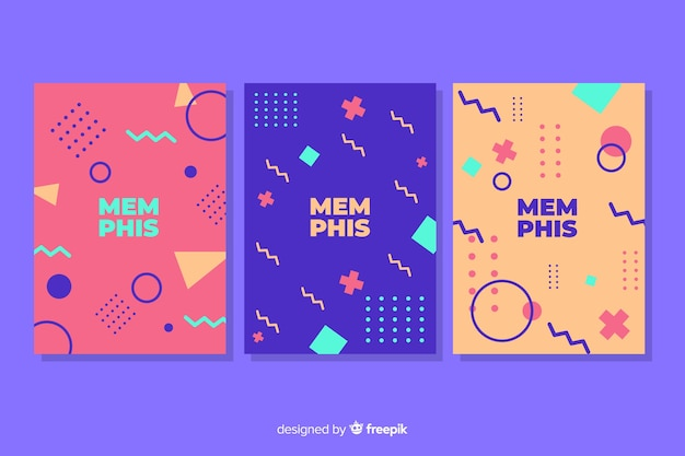 Memphis cover collection with magenta background