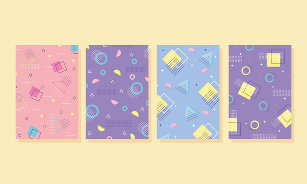 Memphis covers abstract collection templates with geometric shapes