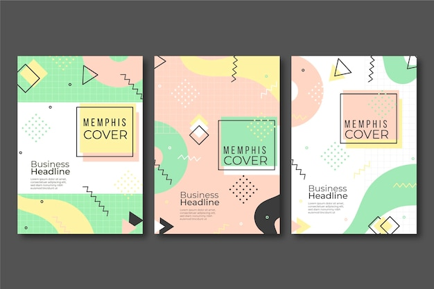 Memphis design colorful cover collection