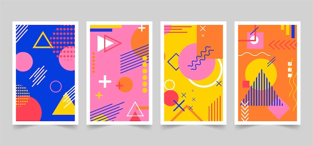 Memphis design colorful cover pack