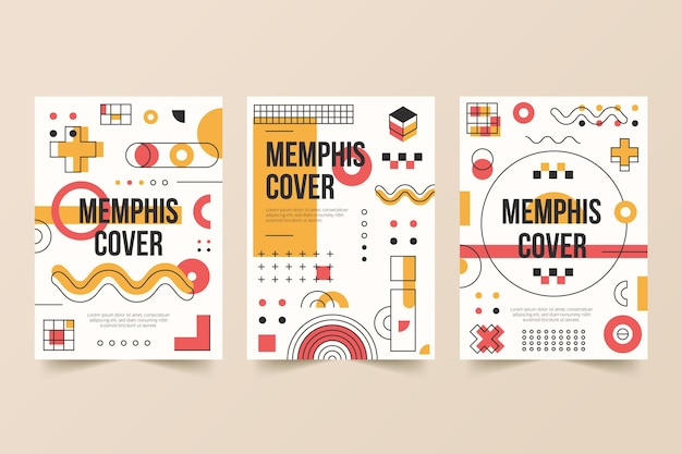 Memphis design colorful cover set