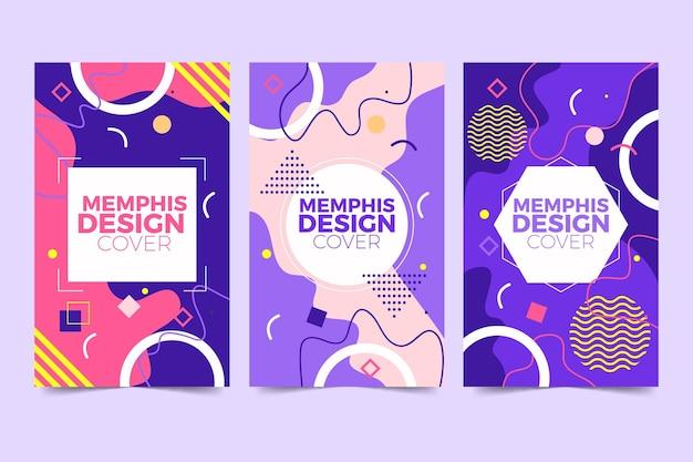 Collezione di copertine di design di memphis Vettore gratuito