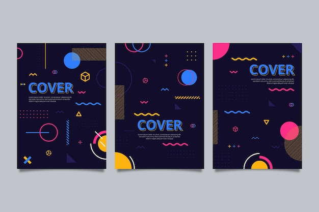 Memphis design cover set