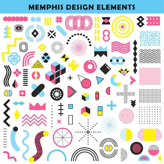 Memphis design elements set