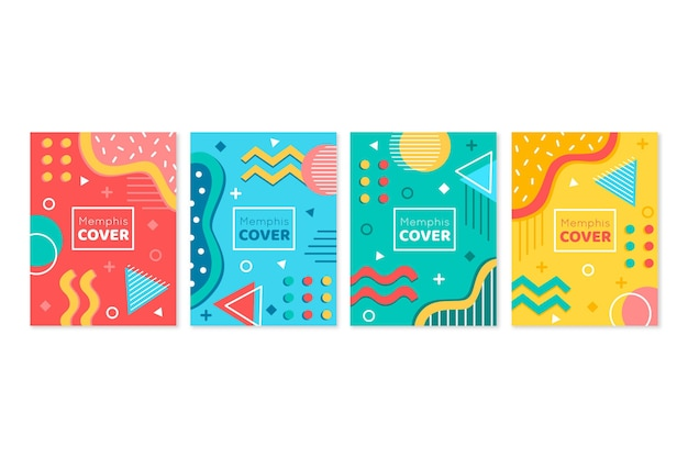 Memphis design geometric shapes cover set