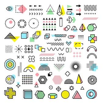 멤피스 디자인. 현대 펑키 그래픽 패션은 기하학적 모양 점선 삼각형 원형 벡터를 형성합니다. 그림 멤피스 기하학적 삼각형과 유행 요소 모양