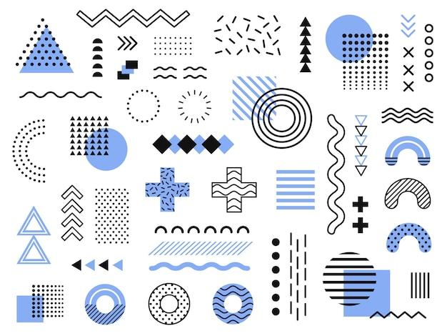 멤피스 요소. 레트로 펑키 그래픽, 90 년대 트렌드 디자인 및 빈티지 기하학적 프린트 요소 컬렉션