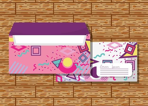 Memphis envelopes mock up over wooden background