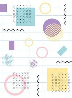 Memphis figures pop textile 80s 90s style abstract grid