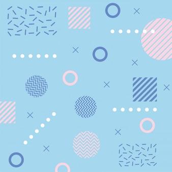 メンフィスは三角形を形成し、正方形80年代90年代スタイルの抽象的なブルー