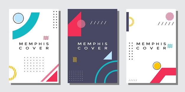 Memphis geometric abstract layout collection