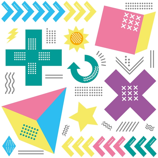 Memphis geometric abstract style pattern