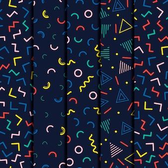 Memphis geometric line seamless patterns set