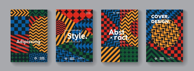 Memphis geometric pattern collection. abstract swiss posters set.