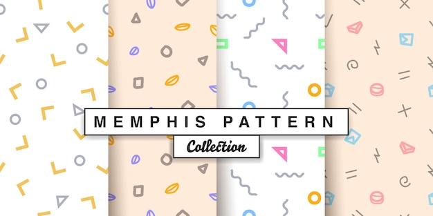 Memphis geometric seamless pattern set