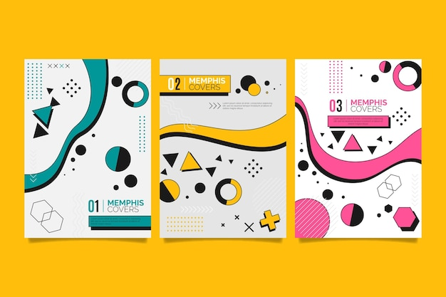 Memphis geometric shapes cover set