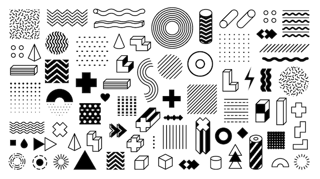 Memphis geometric shapes. trendy graphic element. different shape funky graphic silhouette for design. vector isolated decorative minimalistic elements