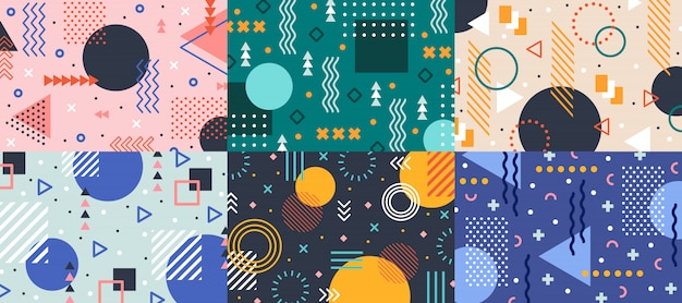 Memphis geometry . colorful shapes pattern, vivid coloring texture and funky color patterns abstract Premium Vector