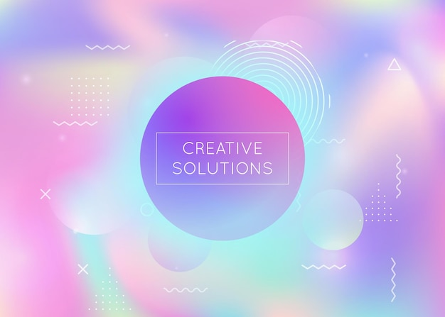 Memphis gradient background with liquid shapes. dynamic holographic fluid with bauhaus elements. graphic template for flyer, ui, magazine, poster, banner and app. rainbow memphis gradient.