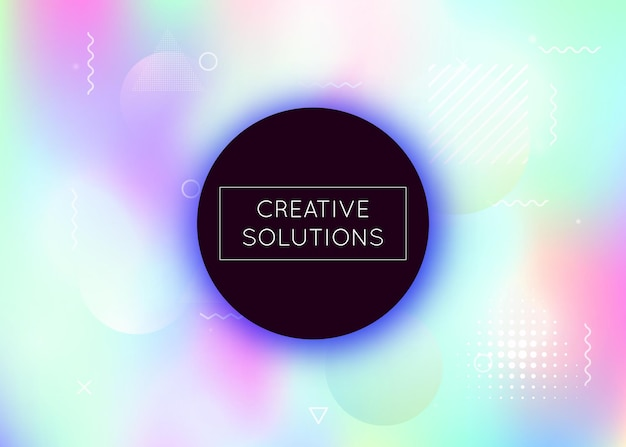 Memphis gradient background with liquid shapes. dynamic holographic fluid with bauhaus elements. graphic template for placard, presentation, banner, brochure. stylish memphis gradient.