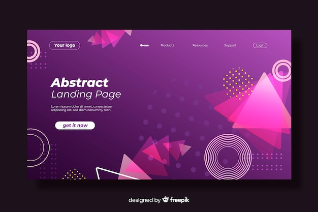 Memphis gradient geometric shapes landing page