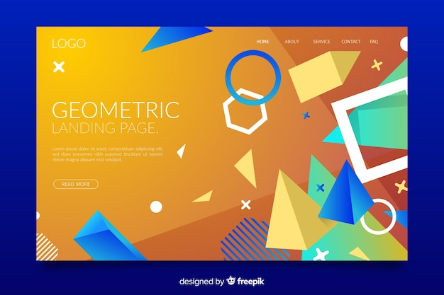 Memphis landing page with geometric shapes mixture