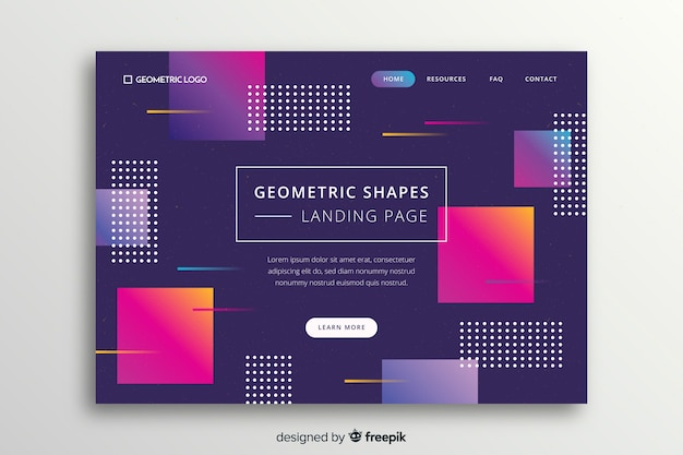 Memphis landing page with gradient geometric shapes