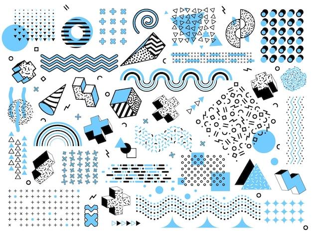 멤피스 최소한의 기하학적 모양. 하프톤 그리드 요소, 팝 아트 디자인 삼각형 그래픽 텍스처. 추상 패션 펑키 스타일 벡터 집합입니다. 기하학적 멤피스 패턴, 트렌디 한 기하학 그림