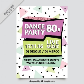 Memphis modern eighties party brochure