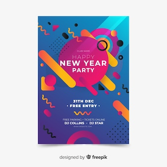 Memphis new year party poster