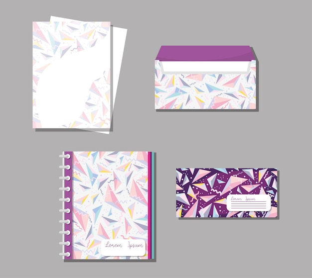 Memphis notebooks and envelopes mock up