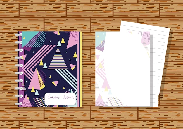 Memphis notebooks mock up over wooden background