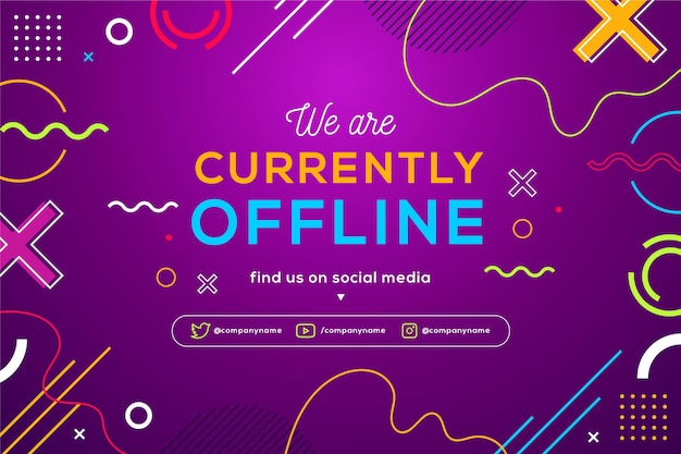 Memphis offline twitch banner with colorful shapes and lines