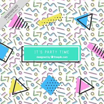 Мемфис партия фон с геометрическими фигурами