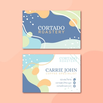 Memphis pastel-colored business card template
