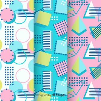 Memphis pattern assortment with shapes