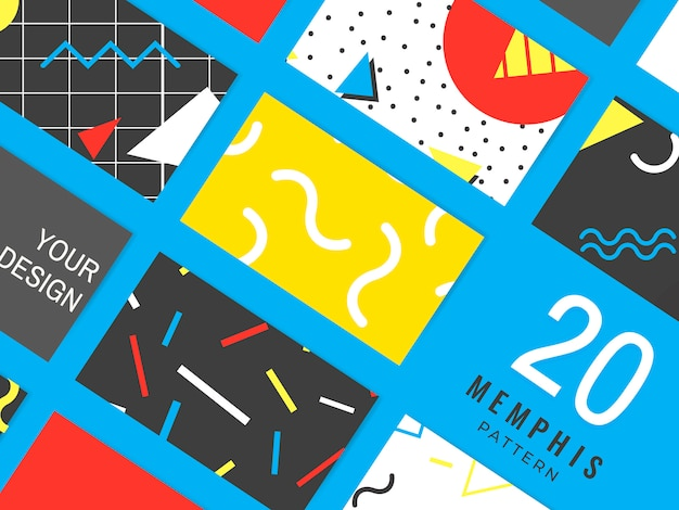 Memphis pattern cards collection