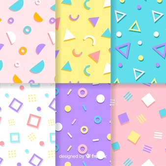 Memphis pattern collection with colorful backgrounds