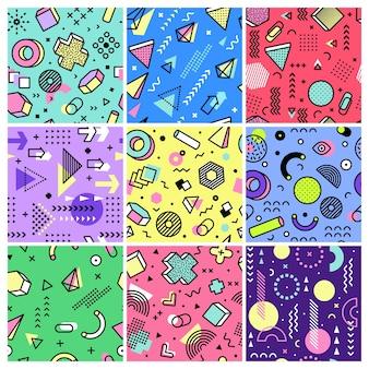 멤피스 패턴. 기하학적 디자인 추상 그런 지 기하학적 모양 패션 복고 끊김없는 배경 컬렉션.