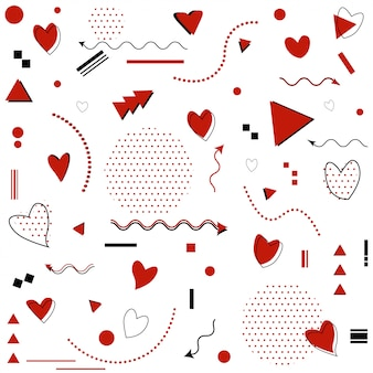 Memphis pattern for happy valentine's day celebration with symbols in retro 80s, 90s memphis style