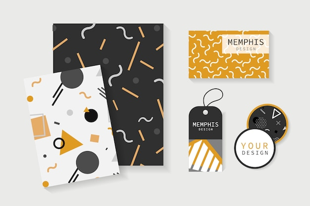 Memphis patterned office supplies vector set