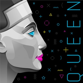 Memphis poster or invitation with nefertiti queen in trendy black color with geometric elements.