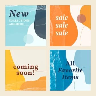 Set di modelli di vendita di memphis Vettore gratuito