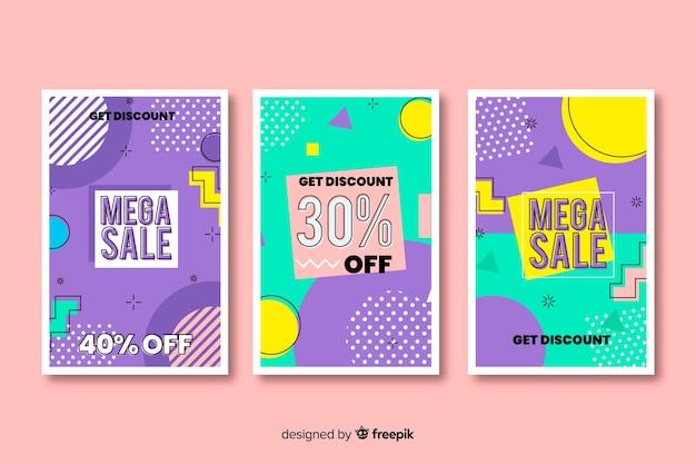 Memphis sales banner template design set