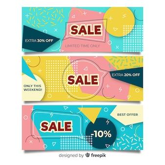 Мемфис продаж баннер набор шаблонов дизайна